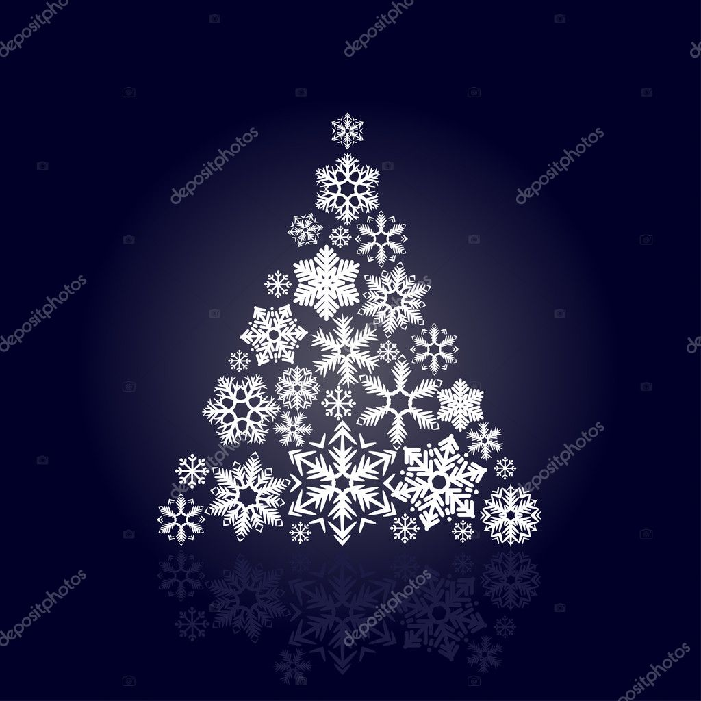 Stylized Christmas tree made of various snowflakes  Stock Vector #6848223