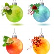 Different christmas glass balls — Stock Vector