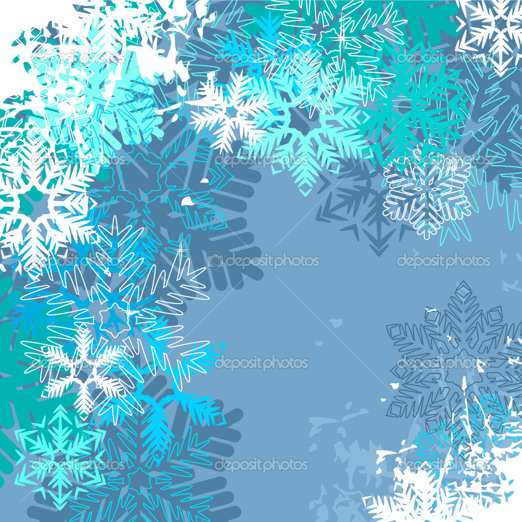 Light blue winter background with different snowflakes  Stock Vector #6852640