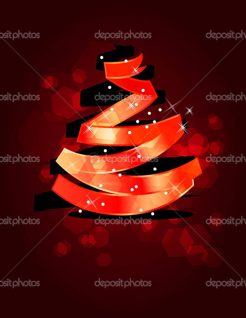 Stylized Christmas tree made of  red ribbon — Stock Vector #6853490