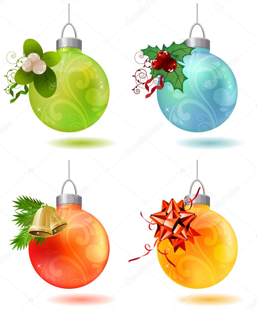 Different christmas glass balls with contour snowflakes — Stock Vector #6853556