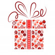 Gift box made of Christmas symbols — Vector de stock