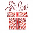 Gift box made of Christmas symbols — Imagen vectorial