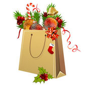 Paper bag full of Christmas balls — Stock Vector