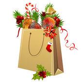 Paper bag full of Christmas balls — Cтоковый вектор