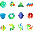 12 colorful vector symbols: (set 18) - Stock Vector
