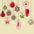 Hanging Christmas decorations — Stock Vector