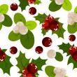 Seamless christmas pattern with holly berry — Stok Vektör