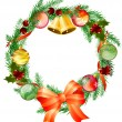 Christmas wreath with bells — Vektorgrafik