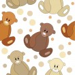 Seamless pattern with teddy bears - Stock Vector