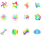 12 colorful vector symbols: (set 17) — Stock Vector