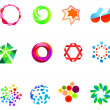 12 colorful vector symbols: (set 21) - Stock Vector