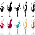 verres avec des boissons différentes — Vecteur