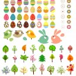 Stock Vector: Big collection of different easter eggs and trees