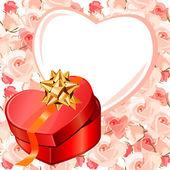 Herzförmige rahmen und geschenk-box — Stockvektor