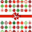Stock Vector: Template with various Christmas balls
