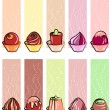 Collection of banners with different sweets — Stock Vector