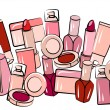 Stock Vector: Various cosmetics in seamless border
