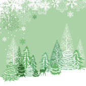 Beautiful view of winter forest — Stock Vector