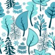 Seamless pattern with winter forest — Stock Vector