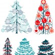 Collecton of stylized Christmas trees — Stock Vector