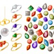 Collection of different jewels - Stock Vector