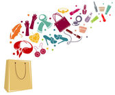 Different woman's things in bag — Stockvector
