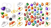 Collection of different jewels — Stock Vector