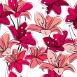 Seamless pattern with lilies — Vector de stock #7486194
