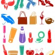 Set of different woman's things — Stock Vector
