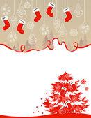 Christmas greeting card with hanging santa socks — Stock Vector