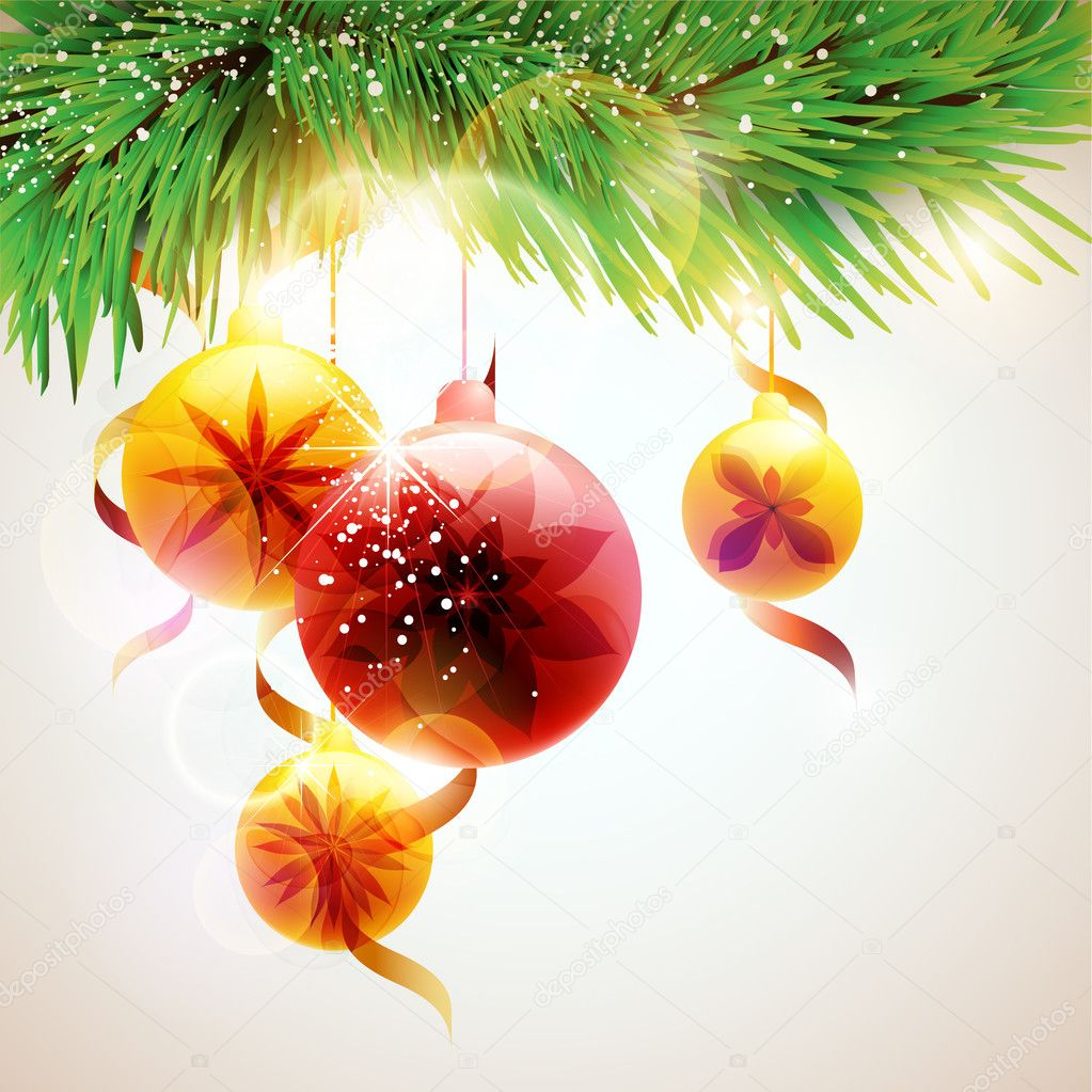 Chrismas background with  balls — Stock Vector #6817944