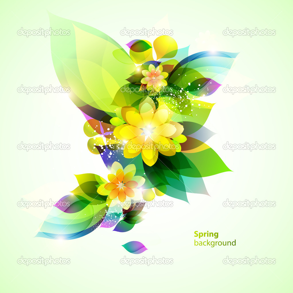 Three beautiful green flower. — Stock Vector #6819059