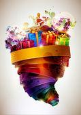 праздничная цветной плакат. — Cтоковый вектор