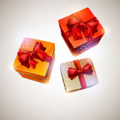 Three gift box. — Stockvector