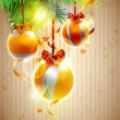 Christmas yellow balls. — Stock Vector