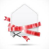 Sale tag with scissors and red ribbons — Stock Vector