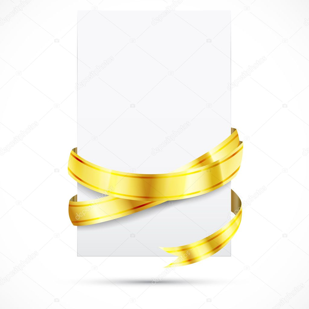 Blank paper with shine gold ribbon  — Stock Vector #7365076