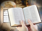 Holy Bible in the Hands — Stock Photo