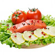 Stock Photo: Red fish and fresh vegetables