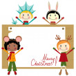 Christmas party with happy kids — Stock Vector