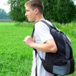 Teenager with knapsack - Stock Photo