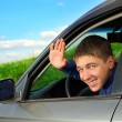 Young man in the car — Stock Photo