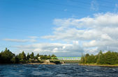 Automobile and railway bridges across Vuoksi river — Stock Photo
