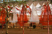 Decorated wedding area near Hindu Temple — Stock Photo