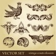 Stock Photo: Vector set of vintage design elements and whimsical animals or peoples