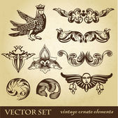 Vector set of vintage design elements and whimsical animals or peoples — Stock Photo