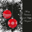 Vintage christmas card with red ball and snowflakes — Stock Photo
