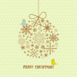 Vintage christmas card with ball, star and snowflakes — Stock Photo