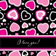 Vector valentines card on seamless hearts background — ストック写真